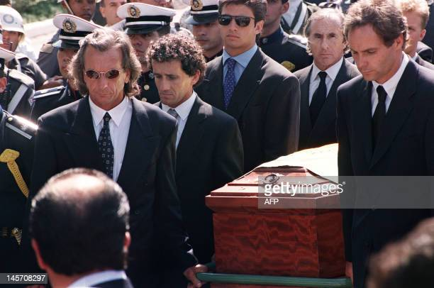 Formula One pilots Emerson Fittipaldi an Christian Fittipaldi of Brazil Alain Prost of France Gerhard Berger of Austria and Jackie Stewart of...
