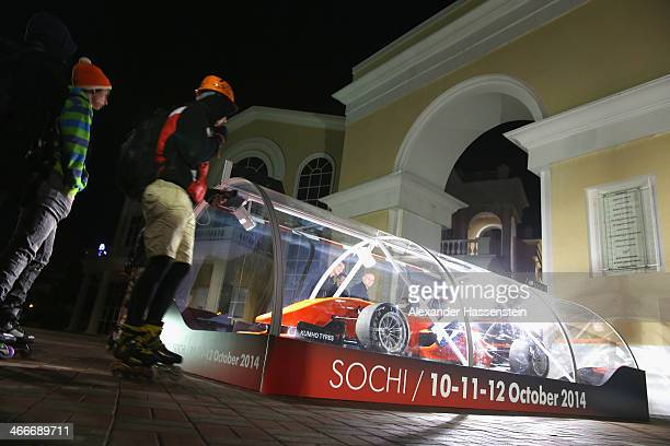 Formula One race car is displayed on February 2 2014 in Sochi Russia