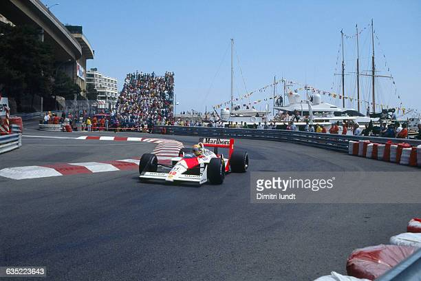 Formula One racecar driver Ayrton Senna of the McLarenHonda racing team rounds a turn during the Monaco Grand Prix