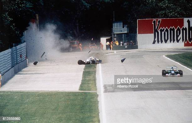 Formula One racer Ayrton Senna crashes into a wall during the 1994 San Marino Grand Prix in Imola Italy Senna later died at the Maggiore Hospital in...