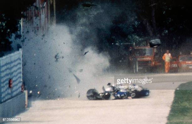 Formula One racer Ayrton Senna crashes into a wall during the 1994 San Marino Grand Prix in Imola, Italy. Senna later died at the Maggiore Hospital...