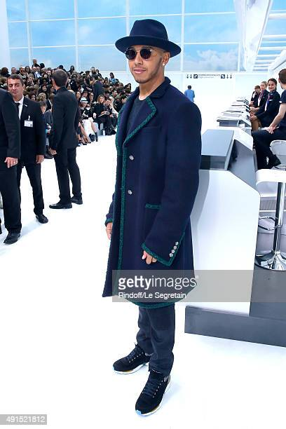Formula One Racing Driver Lewis Hamilton attends the Chanel show as part of the Paris Fashion Week Womenswear Spring/Summer 2016 Held at Grand Palais...