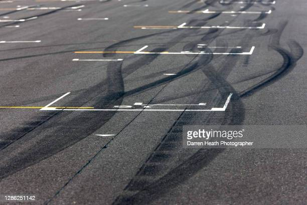 Formula One rubber tyre marks on the grid of the 2009 Japanese Grand Prix at the Suzuka Circuit, Japan, on the 04 October 2009.