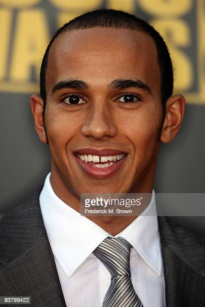 Formula One World Champion Lewis Hamilton of Great Britain arrives at the 2008 American Music Awards held at Nokia Theatre L.A. LIVE on November 23,...