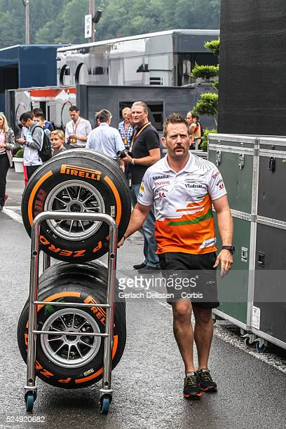 FIA Formula One World Championship 2013 F1 Shell Belgian Grand Prix Tyre mechanic of the Force India F1 team in action on Friday August 23rd