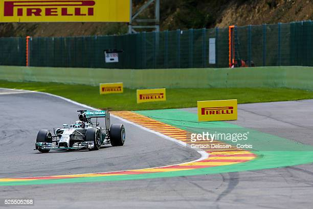 Formula One World Championship 2014, F1 Shell Belgian Grand Prix, Mercedes AMG Petronas F1 team driver Lewis Hamilton in action during the race at...