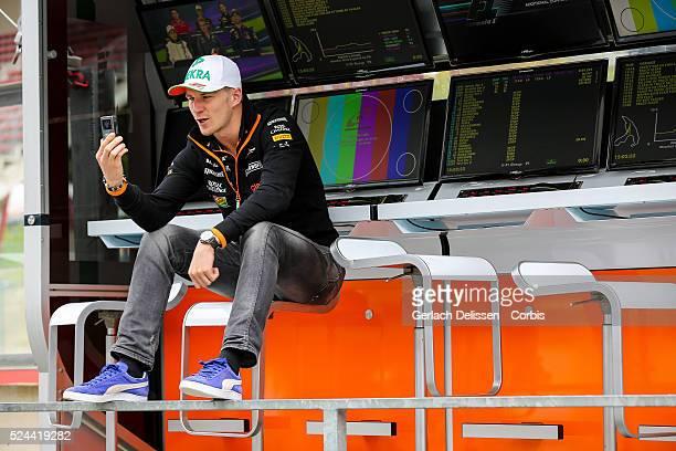Formula One World Championship 2014, F1 Shell Belgian Grand Prix, Sahara Force India F1 team driver Nico Hulkenberg on the pitwall at the...