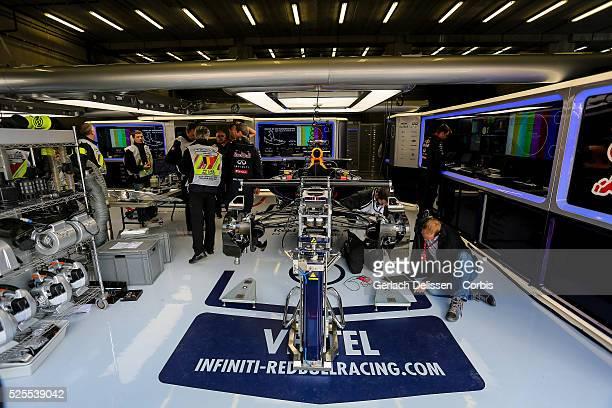 Formula One World Championship 2014, F1 Shell Belgian Grand Prix, garage of Infiniti Red Bull Racing where mechanics work on the car of Sebastien...