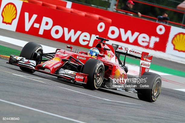 Formula One World Championship 2014, F1 Shell Belgian Grand Prix, Scuderia Ferrari driver Fernando Alonso in action during the race at the...