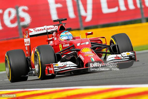 FIA Formula One World Championship 2014 F1 Shell Belgian Grand Prix Scuderia Ferrari driver Fernando Alonso in action at the SpaFrancorchamps Circuit...