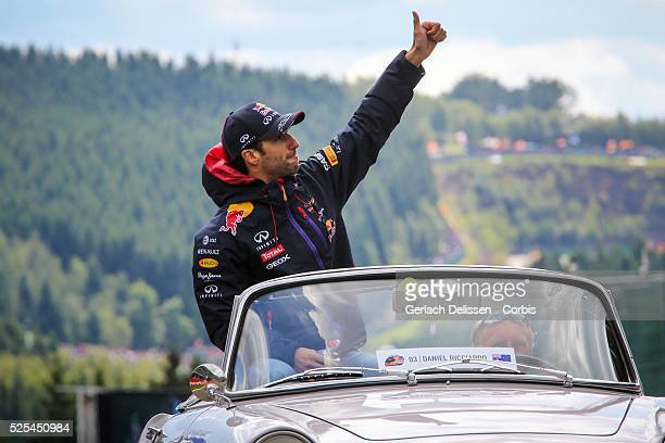FIA Formula One World Championship 2014 F1 Shell Belgian Grand Prix Infiniti Red Bull Racing driver Daniel Ricciardo during the driver parade at the...
