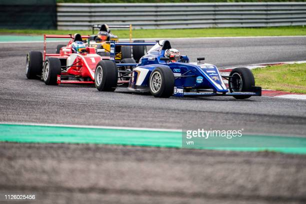Formula race cars on the track