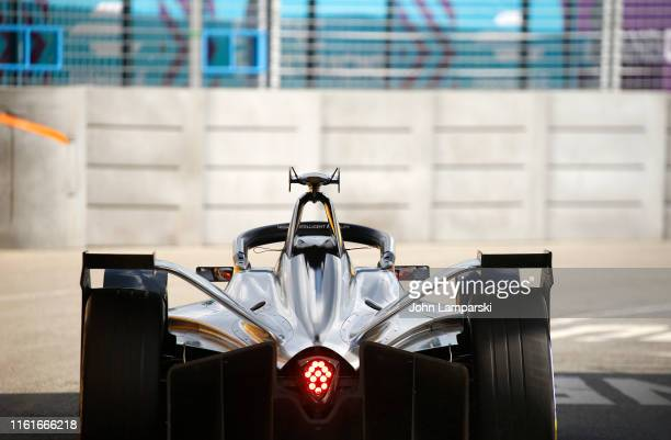 Formule E car is on track during the 2019 New York City ePrix on July 12, 2019 in New York City.