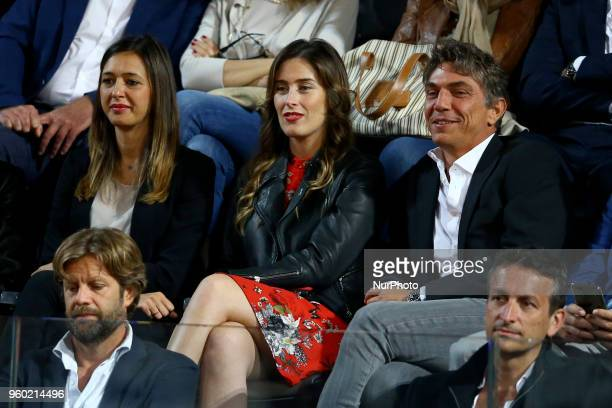 Forner italian Constitutional Reform Minister Maria Elena Boschi looks the match between Marin Cilic of Croatia and Alexander Zverev of Germany in...