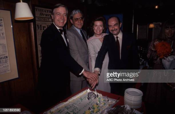 Forrest Compton Ann Flood behind the scenes anniversary party at the soap opera 'Edge of Night'