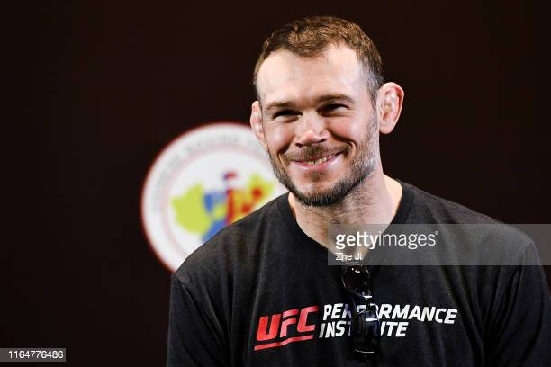 Forrest Griffin interacts with fans during a Q&A session prior to the UFC Fight Night weigh-ins at the Futian Shangri-La on August 30, 2019 in...