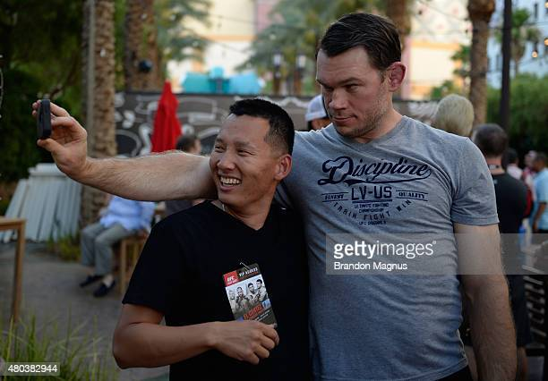 Forrest Griffin interacts with fans during UFC International Fight Week pre-concert party at the El Cortez Hotel & Casino on July 10, 2015 in Las...