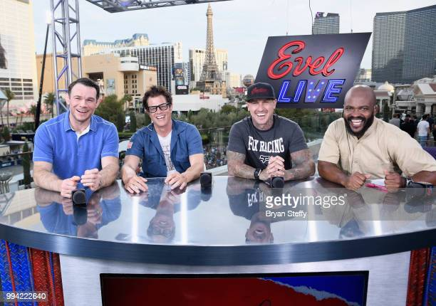 Forrest Griffin, Johnny Knoxville, Carey Hart and Sal Masekela speak at the roundtable panel during HISTORY's Live Event 'Evel Live' at Omnia...
