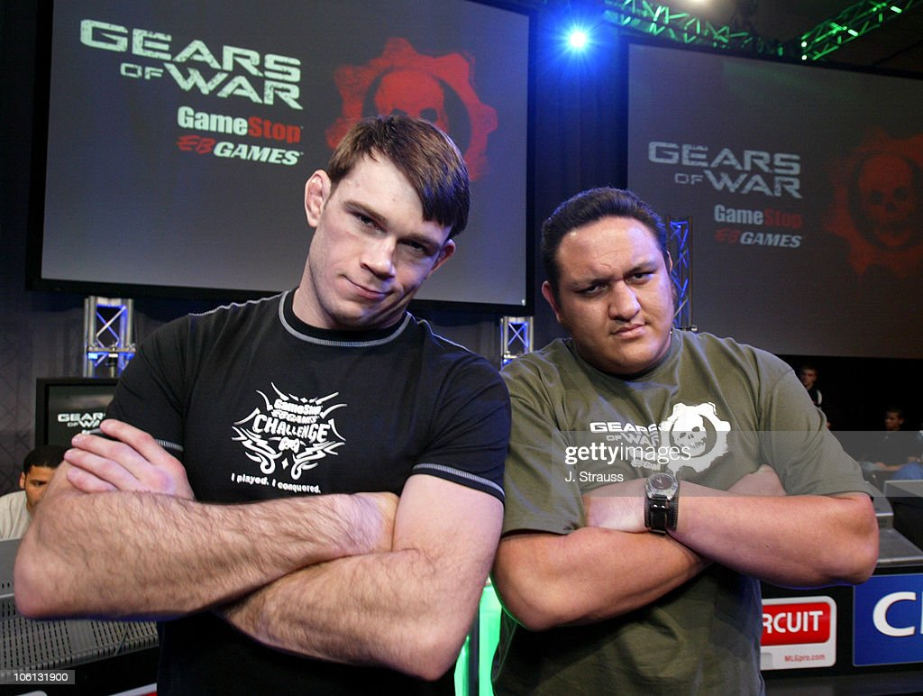 Forrest Griffin of UFC and Samoa Joe of TNA during GameStop's Charity Challenge-Celebrity Match in Las Vegas - November 18, 2006 at Red Rocks Casino in Las Vegas, Nevada, United States.