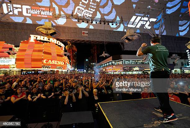 Forrest Griffin pumps up the crowd before the Dropkick Murphys come on stage to perform during UFC International Fight Week Free Concert at the...