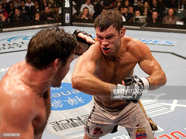 Forrest Griffin punches Stephan Bonnar at UFC 62 at the Mandalay Bay Events Center on August 26, 2006 in Las Vegas, Nevada.