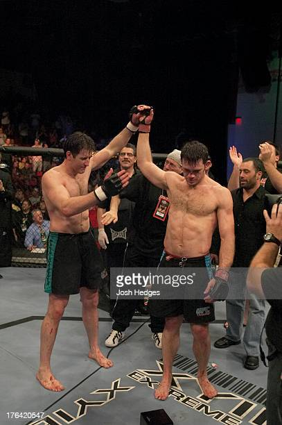 Forrest Griffin reacts after his decision victory over Stephan Bonnar in the light heavyweight finals bout at The Ultimate Fighter Season 1 Finale...
