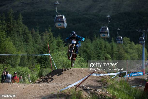 Forrest Riesco of Canada in action in the Men's Downhill Final during the UCI Mountain Bike World Cup on June 4 2017 in Fort William Scotland