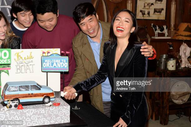 Forrest Wheeler Hudson Yang Randall Park and Constance Wu attend the 'Fresh Off The Boat' 100th episode ABC celebration at Fox Studios on February 27...
