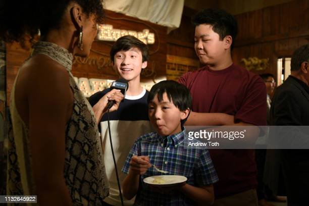Forrest Wheeler Ian Chen and Hudson Yang attend the 'Fresh Off The Boat' 100th episode ABC celebration at Fox Studios on February 27 2019 in Los...