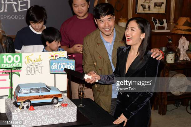 Forrest Wheeler Ian Chen Hudson Yang Randall Park and Constance Wu attend the 'Fresh Off The Boat' 100th episode ABC celebration at Fox Studios on...