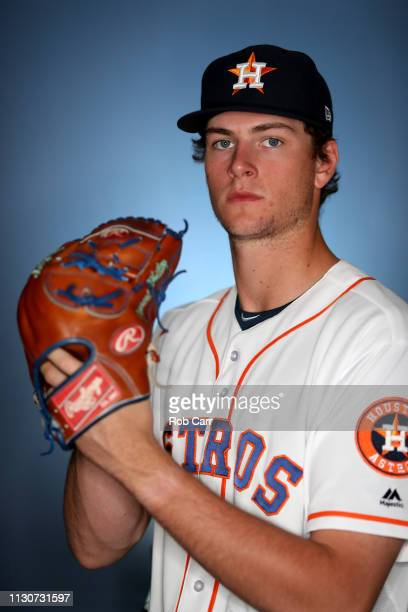 Forrest Whitley of the Houston Astros poses for a portrait during photo days at FITTEAM Ballpark of The Palm Beaches on February 19 2019 in West Palm...