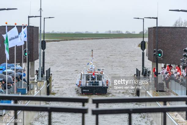 Forst boat passing the lock after King WillemAlexander of The Netherlands performed the official opening of the Reevediep waterway on March 14 2019...
