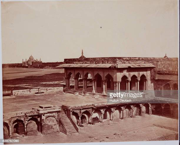 Fort Agra in Agra, India, was the site of heavy fighting during the Sepoy Rebellion against British rule in 1857. The Taj Mahal is visible in the...