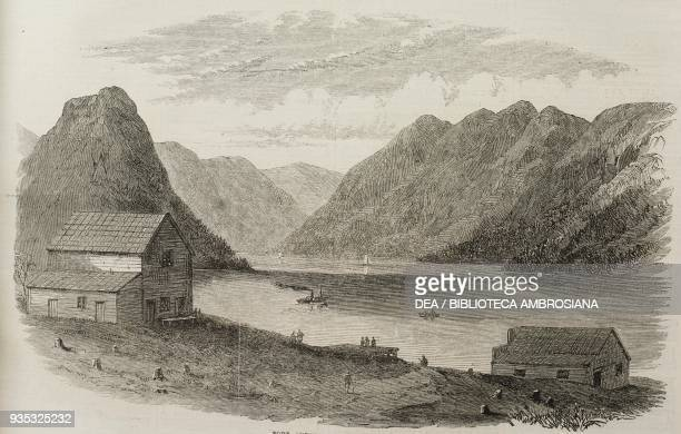 Fort Anderson and Lake Anderson British Columbia Canada illustration from the magazine The Illustrated London News volume XLV December 24 1864