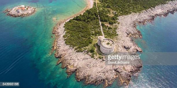 fort arza - kotor bay stock pictures, royalty-free photos & images