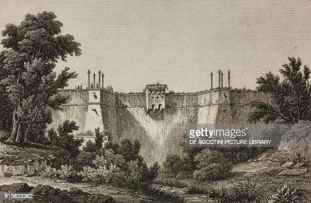 Fort Bakczekeu Istanbul Turkey engraving by Lemaitre Vormser and Cholet from Turquie by Joseph Marie Jouannin and Jules Van Gaver L'Univers...
