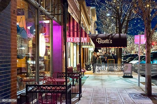 fort collins at night - fort collins stock pictures, royalty-free photos & images