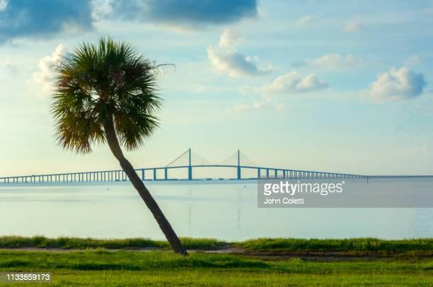fort de soto park, sunshine skyway bridge, saint petersburg, florida - st. petersburg florida stock photos and pictures