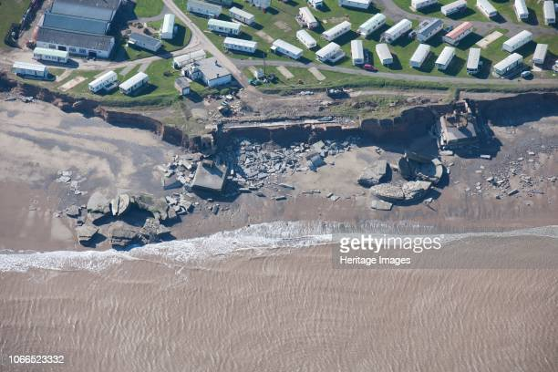 Fort Godwin coastal battery, near Kilnsea, East Riding of Yorkshire, 2014. Aerial view showing the ruins of the battery severely damaged by coastal...