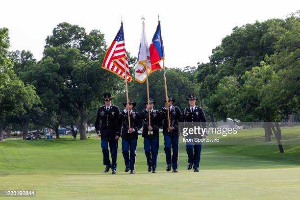 Fort Hood Honor Guard presents flags during the closing ceremonies of the Charles Schwab Challenge on May 30, 2021 at Colonial Country Club in Fort...