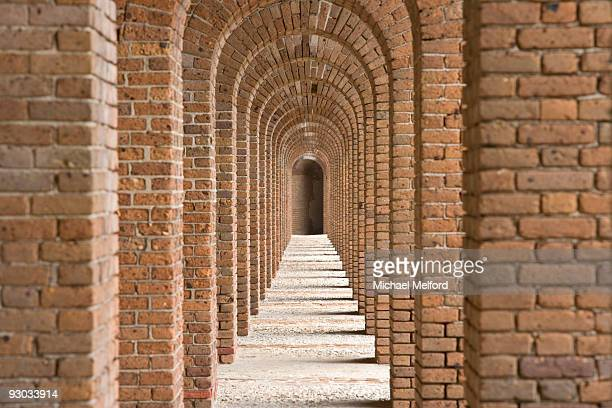 brick arches at fort jefferson in dry tortugas national park, florida. - dry tortugas stock pictures, royalty-free photos & images