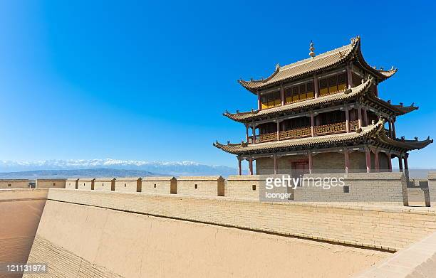 fort jiayuguan of the great wall,china - gansu province stock pictures, royalty-free photos & images