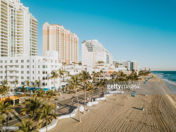 fort lauderdale beach at sunrise from drone point of view - sunrise fort lauderdale stock pictures, royalty-free photos & images