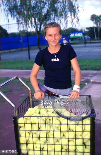 EXCLUSIVE fort lauderdale florida april 2000 russian future tennis star katja afinogenova age 12 or 13 'kournacopie' with cart load of practice...