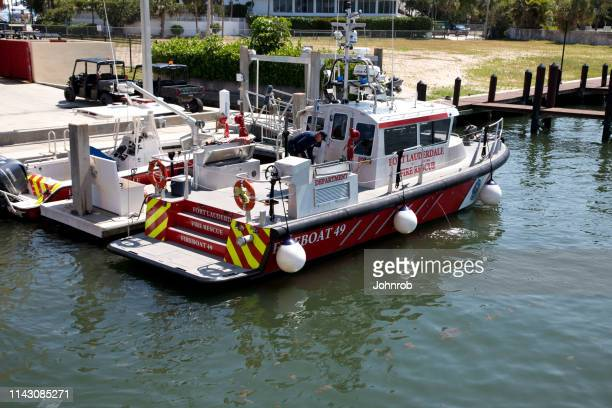 Fort Lauderdale Florida, Fire and Rescue boat at dock