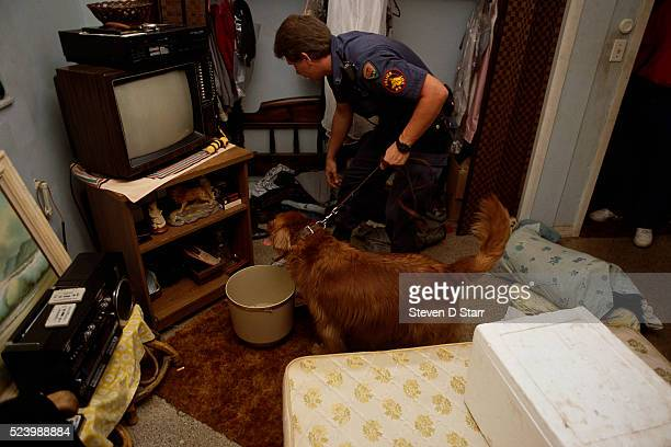 Fort Lauderdale police officer leads a drug-sniffing dog through a crack house during a raid.