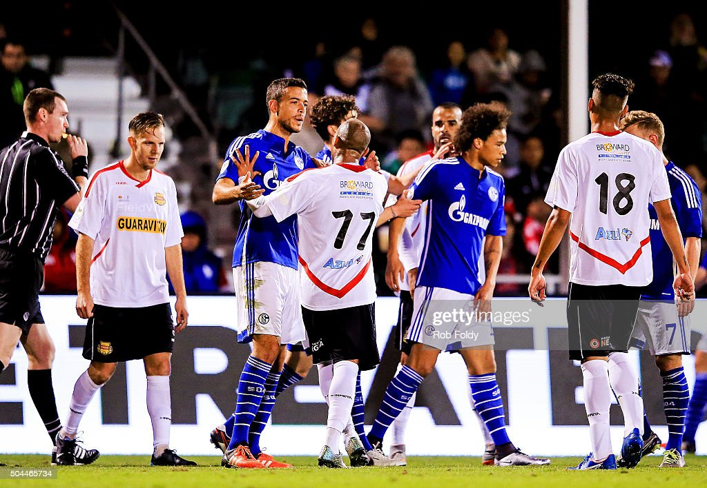 Fort Lauderdale Strikers and FC Schalke 04 players are broken up after a fight during the match at the ESPN Wide World of Sports Complex on January 10, 2016 in Kissimmee, Florida.