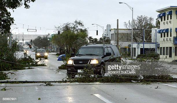 Motorist avoid downed trees and power lines following the passage of hurricane Wilma 24 October 2005 in Ft Lauderdale FL Hurricane Wilma was...