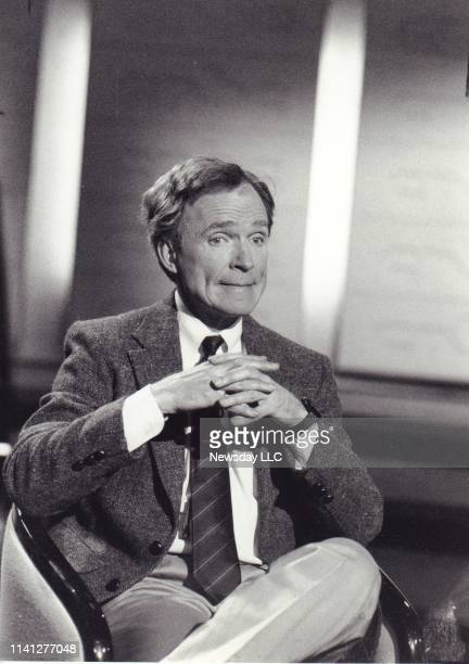 Veteran interviewer Dick Cavett poses on the set of his new talk show on cable's CNBC in Fort Lee New Jersey on April 13 1989
