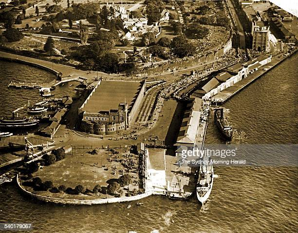 Fort Macquarie Tram Sheds at Bennelong Point Sydney This is the site of the Sydney Opera House 1955 SMH NEWS 175 DVD Picture by STAFF